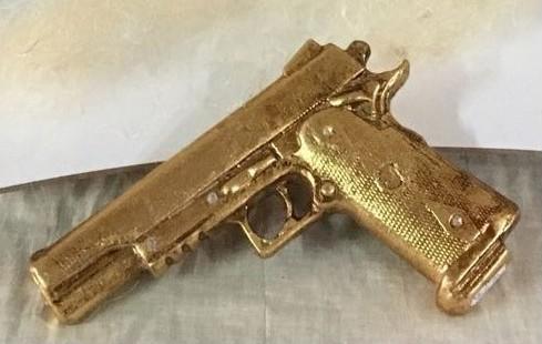 bomboniera pistola dorata