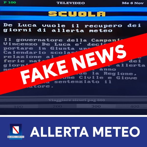 allerta meteo fake news scuola regione campania