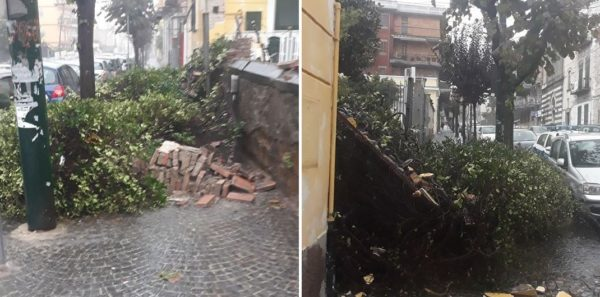 crollo muro palazzina portici