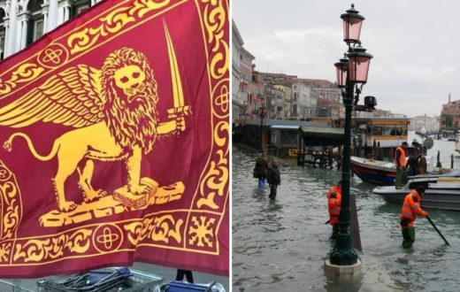venezia acqua alta bandiere veneto