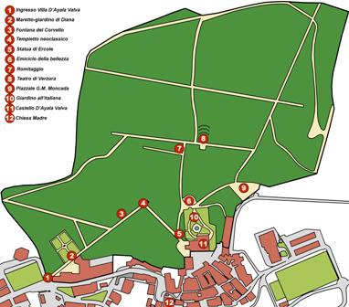 mappa villa D'Ayala Valva