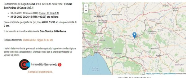 scossa terremoto irpinia 31 agosto 2020