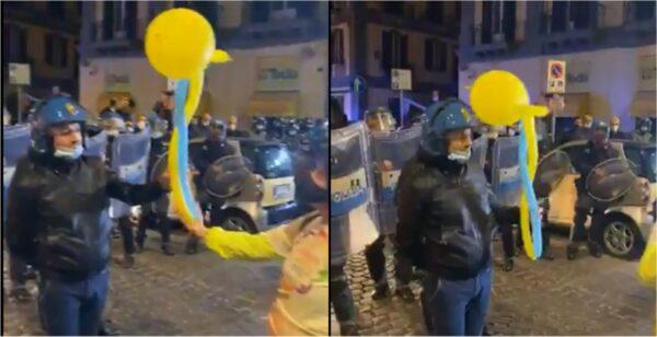 napoli palloncino animazioni polizia