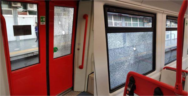 treno circumvesuviana vandalizzato