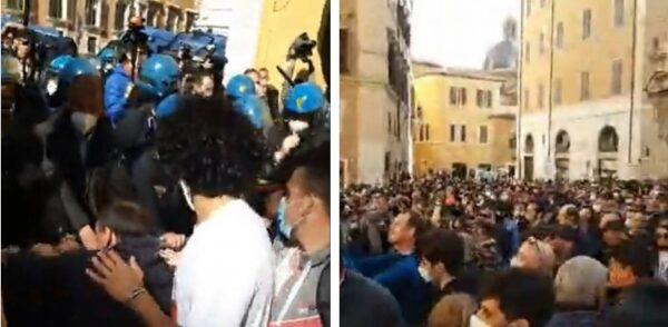 """Lavoratori in protesta a Roma: """"Domani apriamo tutti. Con le multe ci puliamo il c..."""""""